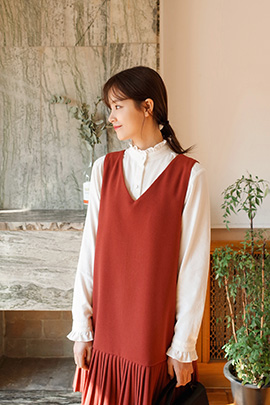 corduroy frill, blouse