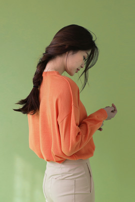 azure, knit (orange)
