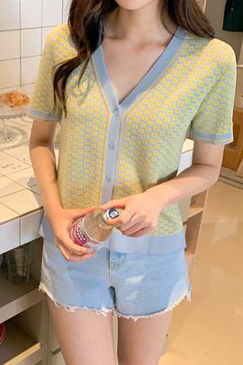 印花短袖针织开衫