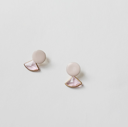 pink crystal, earring