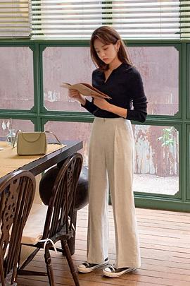 时尚亚麻长裤