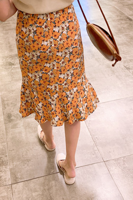 印花鱼尾半身裙