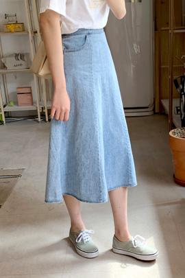 口袋高腰牛仔长裙