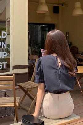 缝线蝴蝶结衬衫