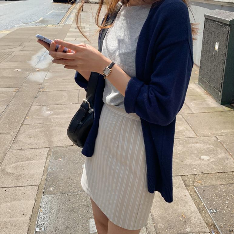 纯色宽松针织开衫