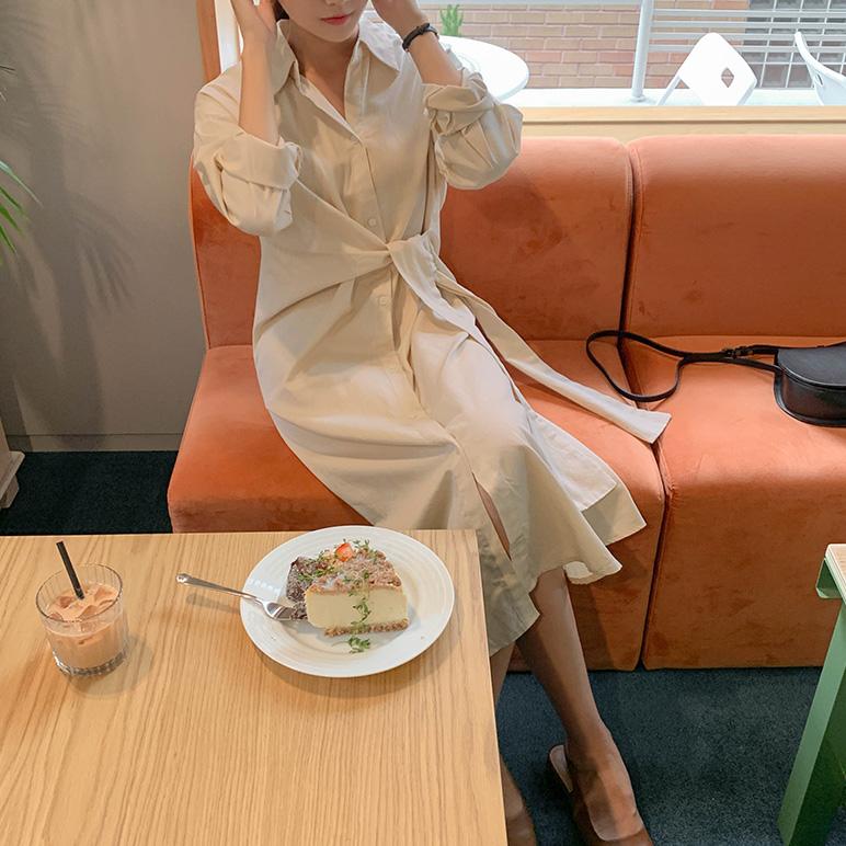 气质衬衫系带设计连衣裙