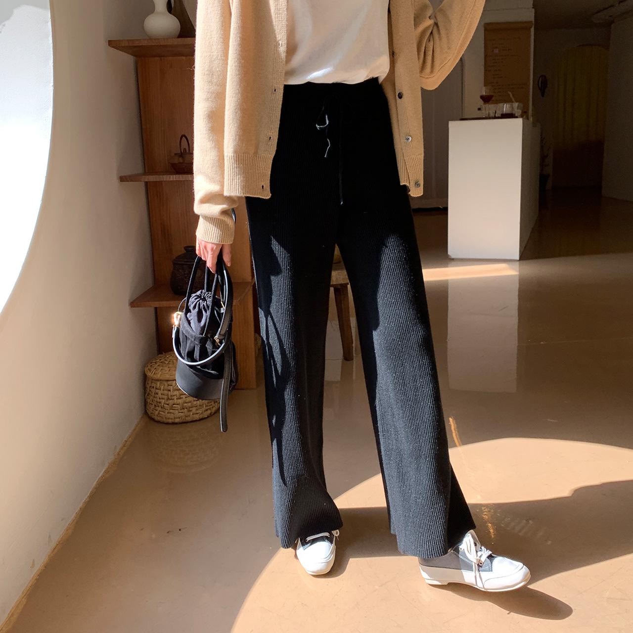 修身长款针织裤