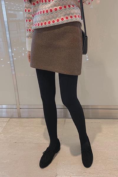百搭棕色羊毛A字迷你裙