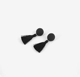 black tassle, earing