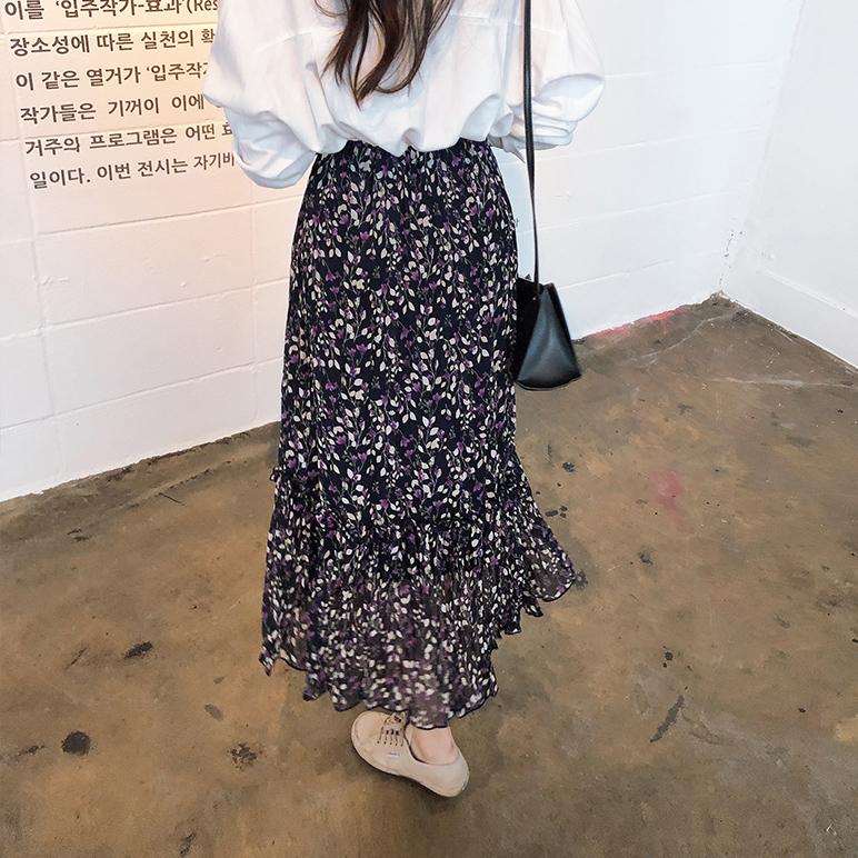 印花飘逸半身长裙