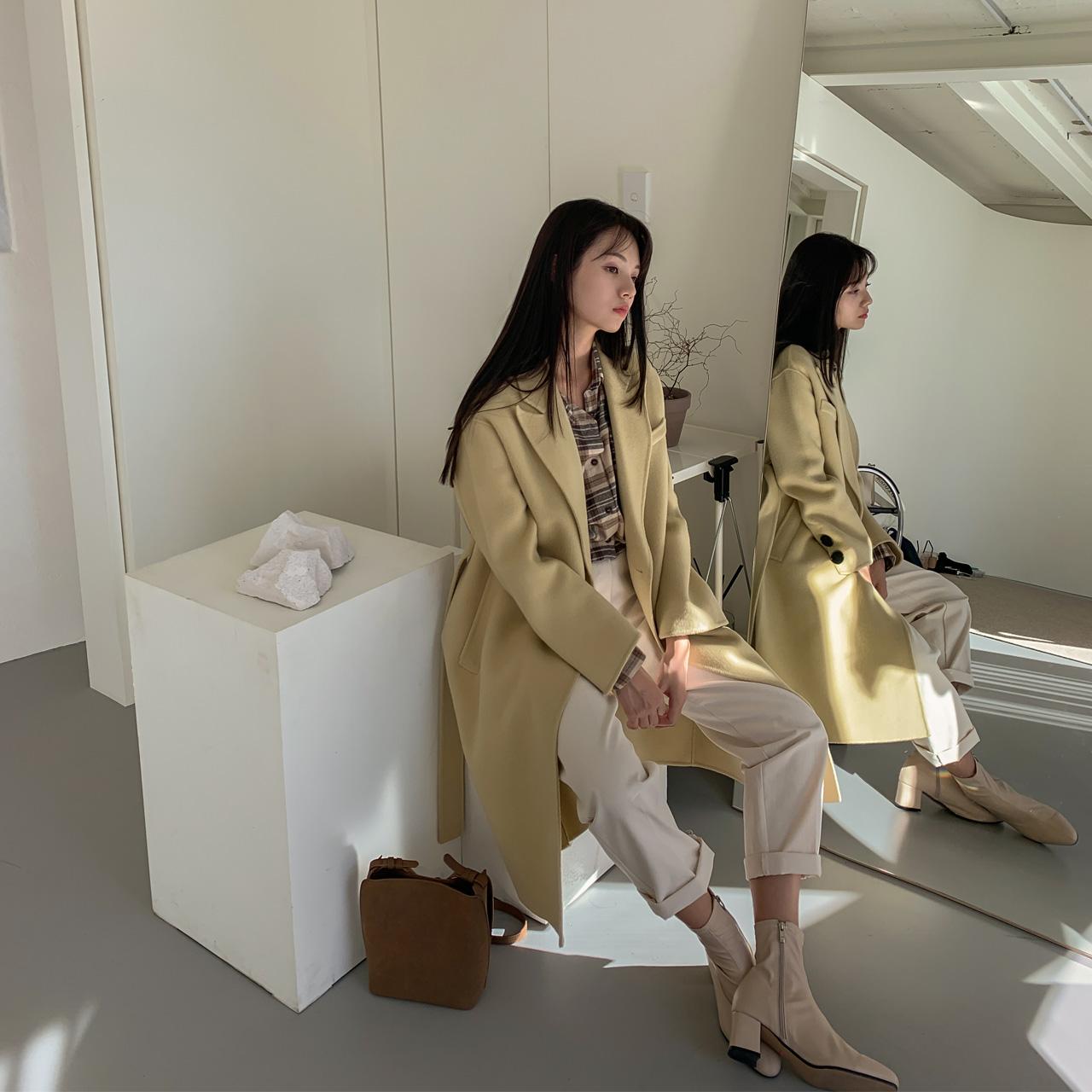 handmade中长款系带大衣