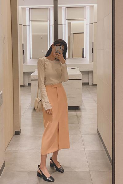 清新橙色松紧带半身裙