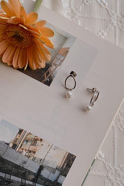气质水滴珍珠耳环