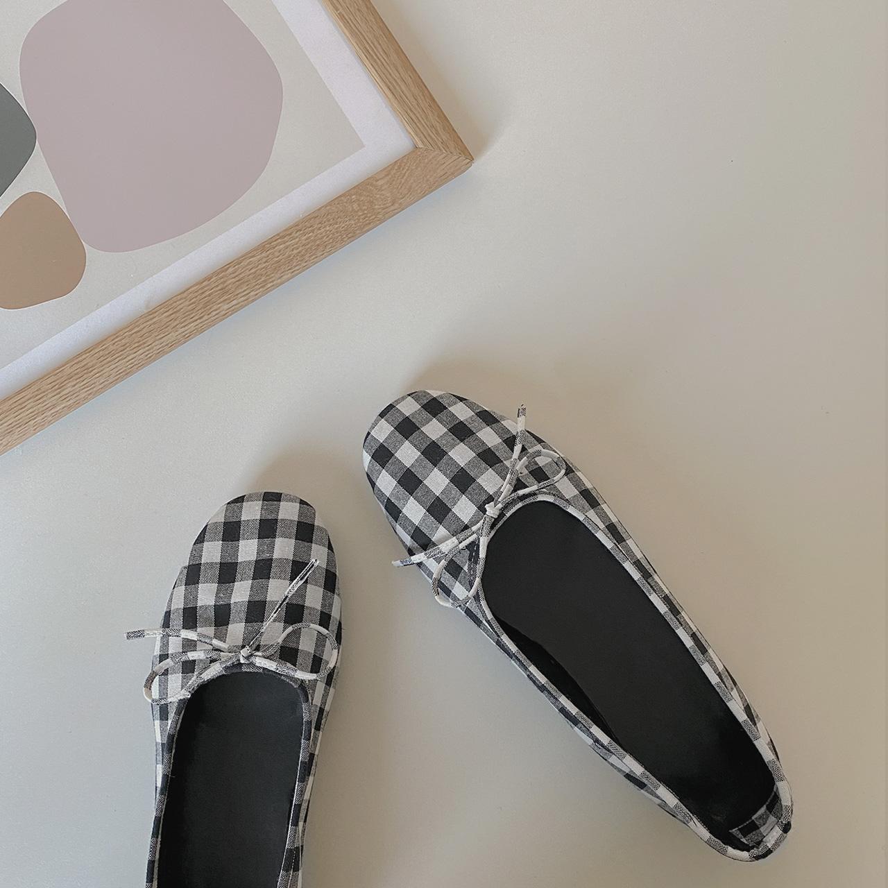 黑白格蝴蝶结圆头单鞋