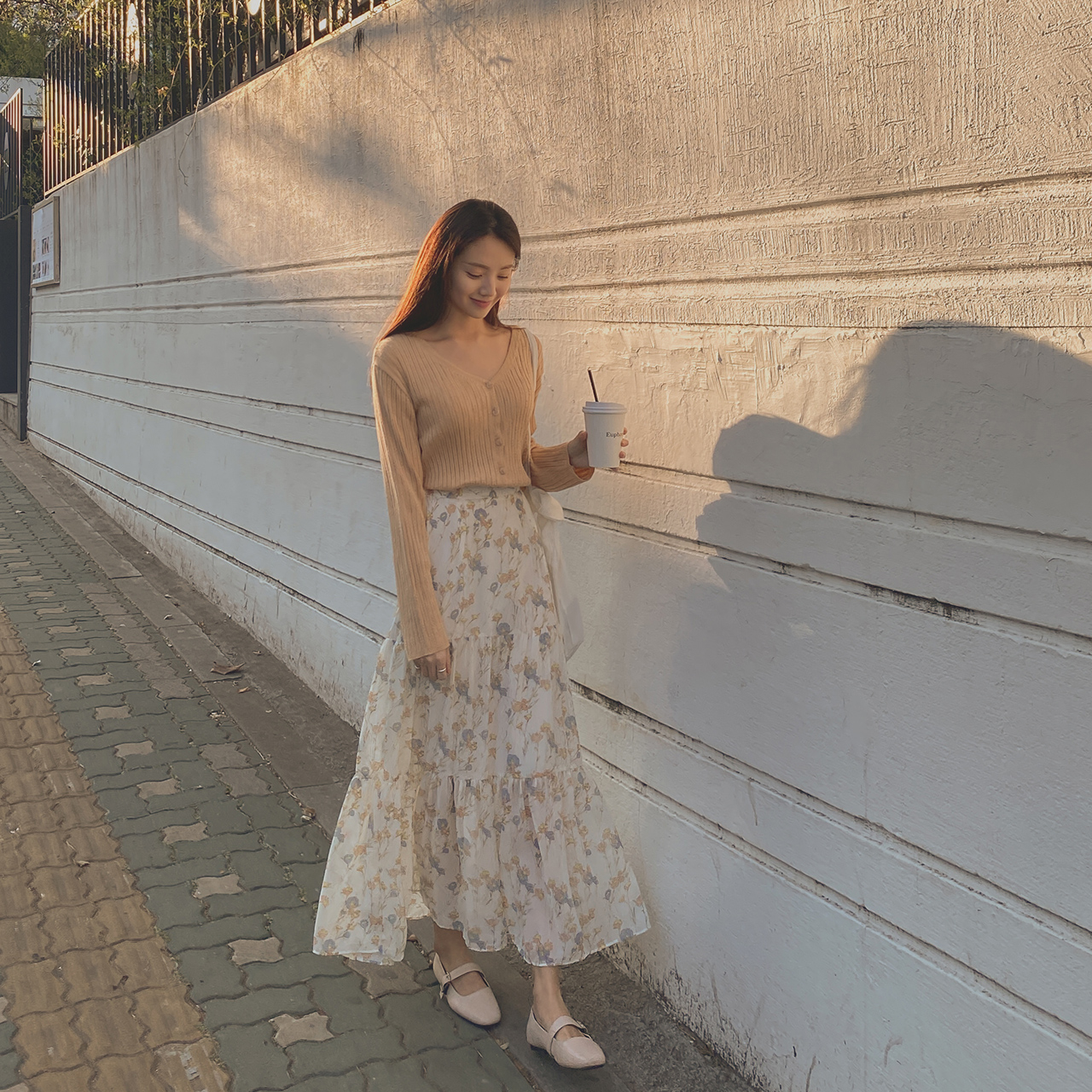 气质松紧腰花纹长款半身裙